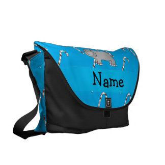 Personalized name hippo blue candy canes courier bags