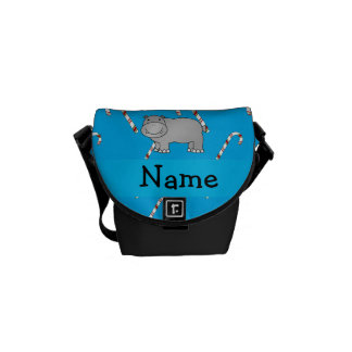 Personalized name hippo blue candy canes messenger bags
