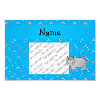 Personalized name hippo blue candy canes photo
