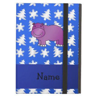 Personalized name hippo blue snowflakes trees iPad air cases