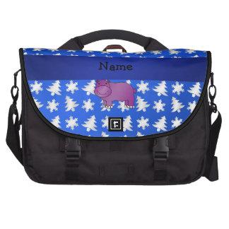 Personalized name hippo blue snowflakes trees laptop messenger bag