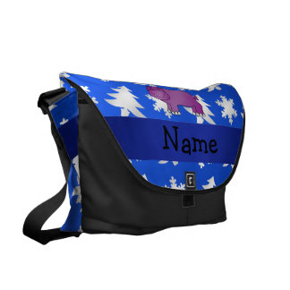 Personalized name hippo blue snowflakes trees courier bag