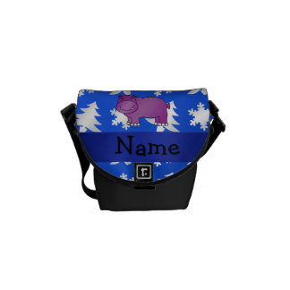 Personalized name hippo blue snowflakes trees messenger bag