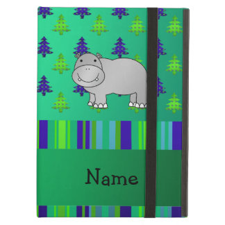 Personalized name hippo green blue stripes iPad air covers