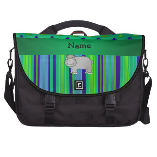 Personalized name hippo green blue stripes commuter bag