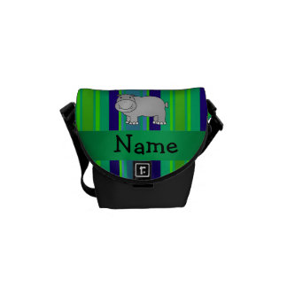 Personalized name hippo green blue stripes courier bags