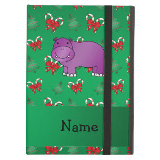 Personalized name hippo green candy canes bows case for iPad air