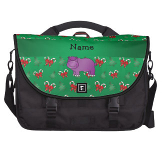 Personalized name hippo green candy canes bows computer bag