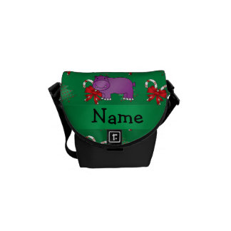 Personalized name hippo green candy canes bows courier bags