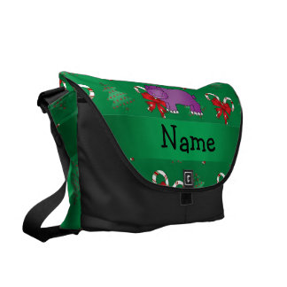 Personalized name hippo green candy canes bows messenger bag