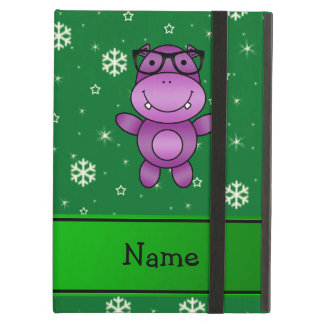 Personalized name hippo green snowflakes iPad air cover