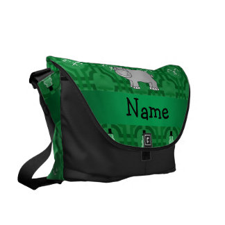 Personalized name hippo green snowmen courier bag
