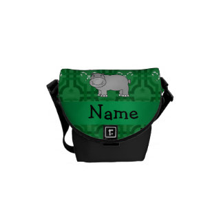 Personalized name hippo green snowmen courier bags