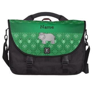 Personalized name hippo green snowmen laptop bag