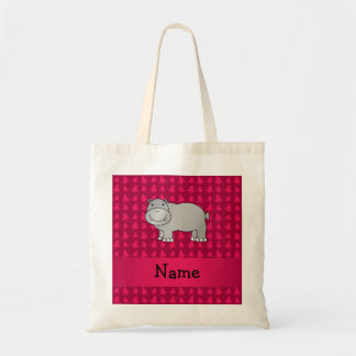 Personalized name hippo pink christmas trees bags