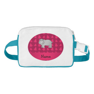 Personalized name hippo pink christmas trees nylon fanny pack