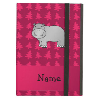 Personalized name hippo pink christmas trees iPad air covers