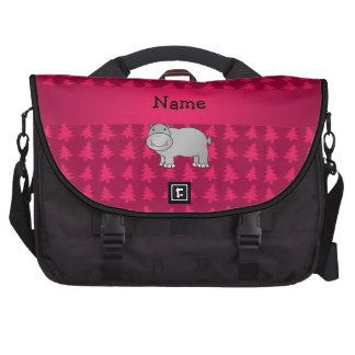 Personalized name hippo pink christmas trees laptop bags