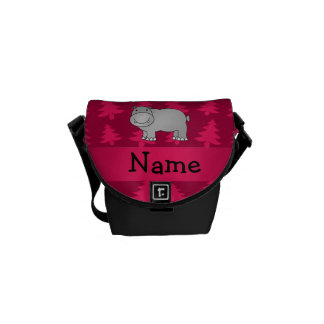 Personalized name hippo pink christmas trees messenger bags