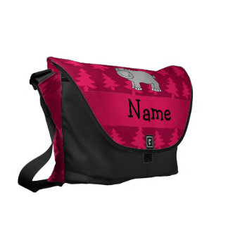 Personalized name hippo pink christmas trees courier bags