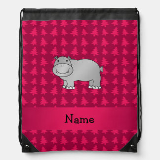 Personalized name hippo pink christmas trees drawstring bags