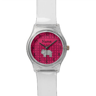 Personalized name hippo pink christmas trees wristwatch