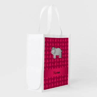 Personalized name hippo pink christmas trees grocery bags