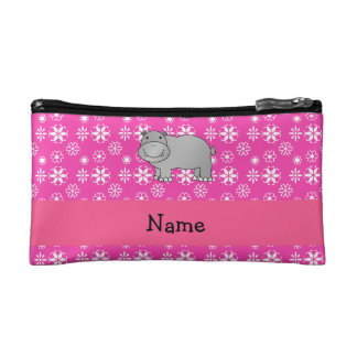 Personalized name hippo pink snowflakes cosmetics bags