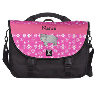Personalized name hippo pink snowflakes laptop computer bag