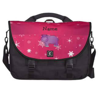 Personalized name hippo pink snowflakes laptop messenger bag