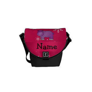 Personalized name hippo pink snowflakes courier bag
