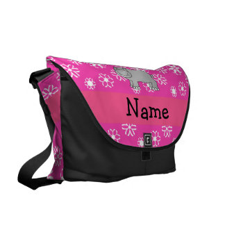 Personalized name hippo pink snowflakes messenger bags