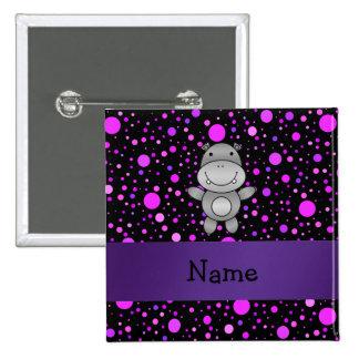 Personalized name hippo purple polka dots 2 inch square button