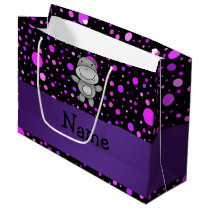 Personalized name hippo purple polka dots large gift bag