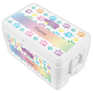 Personalized name hippo rainbow paws ice chest