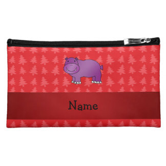 Personalized name hippo red christmas trees cosmetic bags