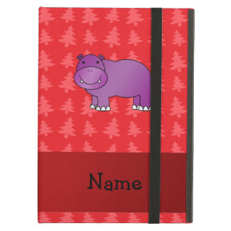 Personalized name hippo red christmas trees iPad air covers