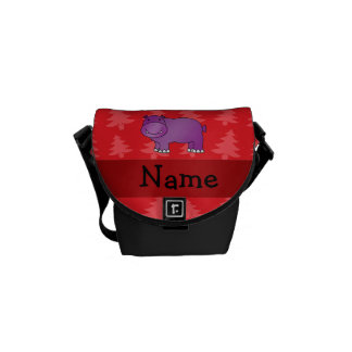 Personalized name hippo red christmas trees messenger bags