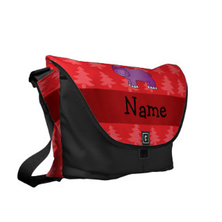Personalized name hippo red christmas trees courier bag