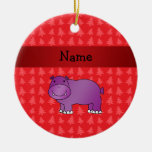 Personalized name hippo red christmas trees christmas tree ornaments