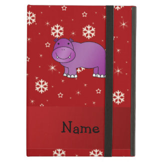 Personalized name hippo red snowflakes iPad air case
