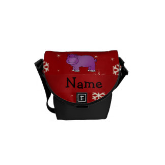 Personalized name hippo red snowflakes courier bags