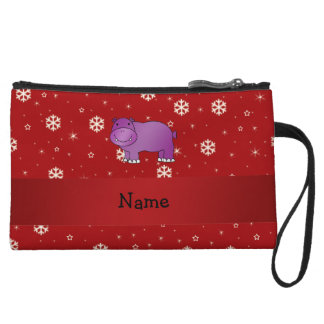 Personalized name hippo red snowflakes wristlets