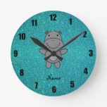 Personalized name hippo turquoise glitter wallclocks