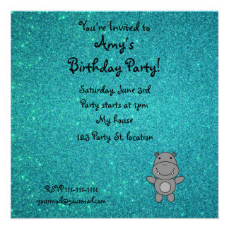 Personalized name hippo turquoise glitter personalized invitations