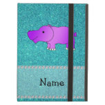 Personalized name hippo turquoise glitter iPad covers