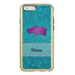 Personalized name hippo turquoise glitter incipio feather® shine iPhone 6 case