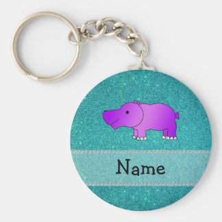 Personalized name hippo turquoise glitter keychain