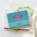 Personalized name hippo turquoise glitter jumbo cookie