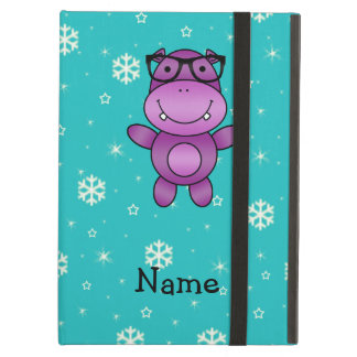 Personalized name hippo turquoise snowflakes iPad air covers